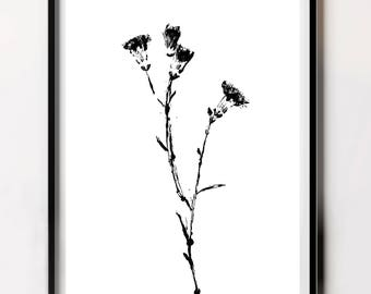 Nordic Flower Print, Monochrome Botanical Poster, Black and White Flower Printable, Minimalist Flower Printable, Printable Flower Art