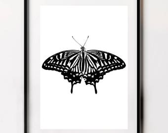 Butterfly Print, Black and White Butterfly  Poster, Butterfly Wall Art, Butterfly Wall Decor