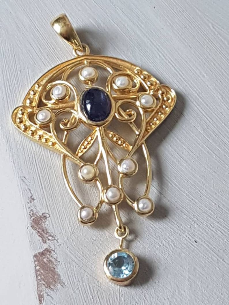 Gift for Her 9ct Gold on Solid 925 Silver Filigree Design Purple Gemstone Pendant  Natural Blue Topaz and Seed Pearls Art Deco Inspired