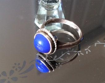 Vintage Silver Lapis Lazuli Blue Oval Ring Size J / USA 5 1/4