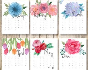 Desk Calendar 2018   Watercolor Floral Calendar Printable   2018 Wall Calendar   12 Month Calendar 2018   Botanical Calendar   Boho Calendar