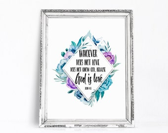 God is Love, Christian Wall Art, Bible Verse Print, Love Printable, 1st Communion Gift, Baptism Gift, Scripture Wall Decor, Nursery Art