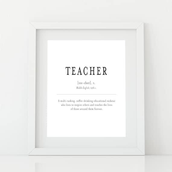 Teacher Definition Print Teacher Appreciation Week Etsy