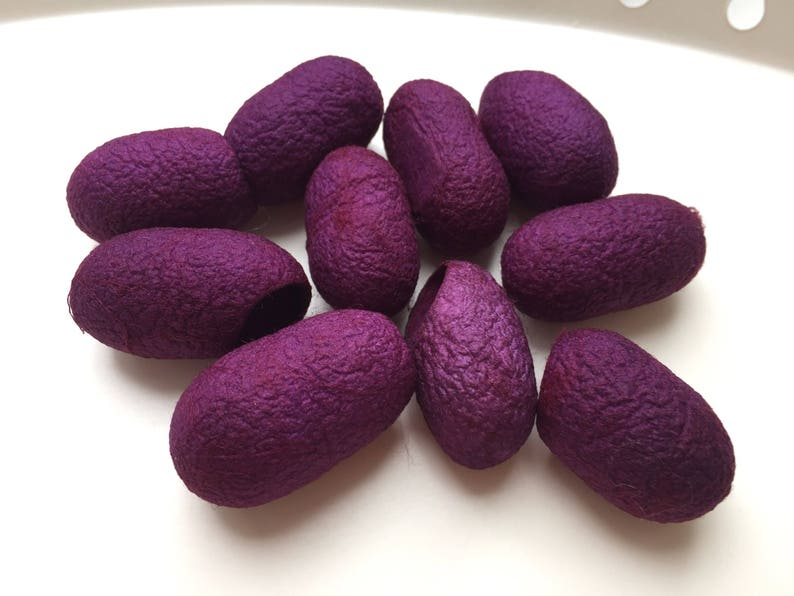 LILAC PURPLE colour HAND DYED SILK Cocoons pack of 10