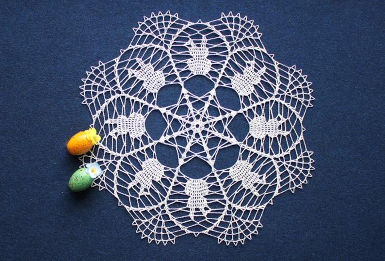 Easter Decor Lace Crochet Doily Crochet Home Decor Haekeln Zierdeckchen Crochet Easter Doily White Crochet Doily Crochet Doily