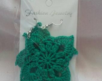 Lovely green crochet earring