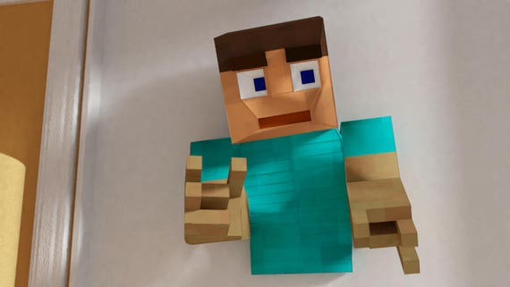 Steve From Minecraft Wall Sculpture Pattern Papercraft Etsy