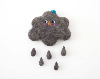 Cloud Wall Decor, Nursery Raincloud, Wool Decoration, Felt Cloud with Raindrops, Kids Decor, Cute Felted Character