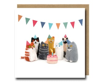 Cat Birthday Card Funny Needle Felted Animal Lover Quirky