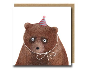 Party Animal Bear Birthday Card, Funny Bear Birthday Card, Cute Bear Card, Party Invitation Card, Grizzly Bear Card, Illustrated Bear Card