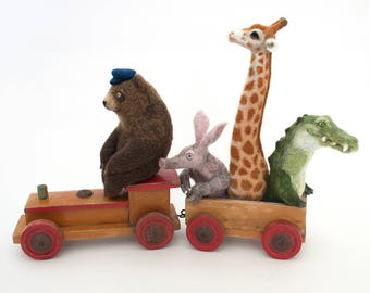 Needle Felted Animals, Vintage Toy Train, OOAK Animal Sculpture, Bear, Aardvark, Giraffe, Crocodile, Unique Fibre Art, Lindsey Thomas Makes
