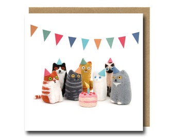 Cat Birthday Card, Funny Greeting Cards, Needle Felted Party Cats Illustration, Cute Animal Art Card For Him/Her/Boyfriend/Girlfriend/Kids