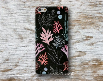 """Seaweed Coral Sea Phone Case for iPhone 4 4s 5 5s SE 5C 6 6S 7 8 PLUS X iPod 5 6 Oneplus 2 3 5 Google Pixel 2 """"Designed by A.Miró Barcelona"""""""