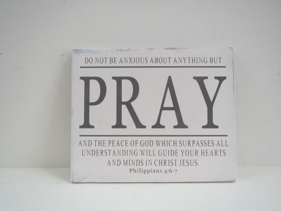 Painted Scripture Sign/Religious Sign/Hand Painted Wood Sign/Pray Sign