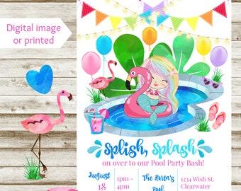 Colorful Rainbow Mermaid Pool Party Birthday Invitation - Printable