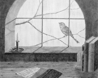 His Eye is on the Sparrow - graphite pencil limited edition print