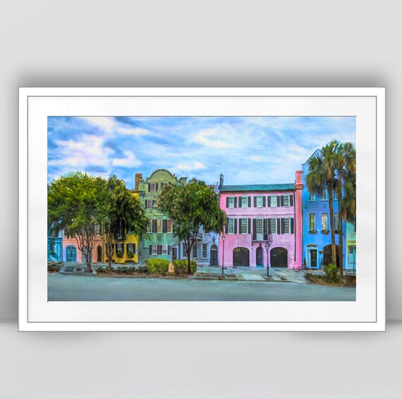 37e39f17775 Rainbow Row Art Print Charleston South Carolina Charleston