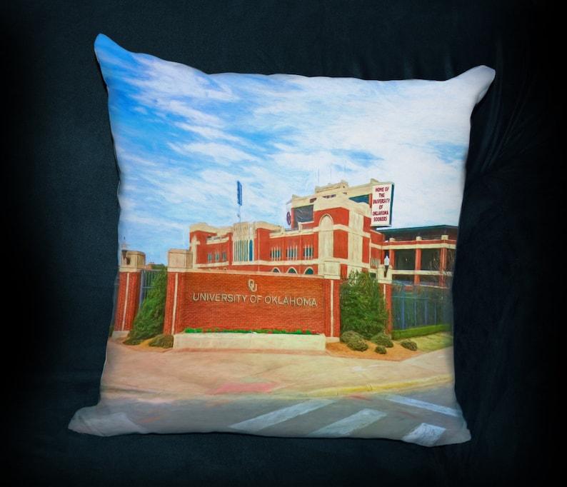 PILLOW University of Oklahoma Football Football Gift OU Sooners Football Man Cave College Dorm Gaylord Oklahoma Memorial Stadium