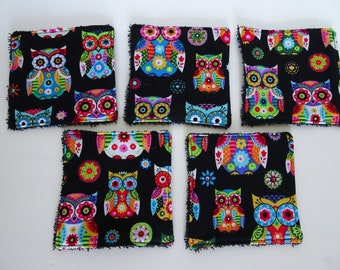 set of 5 multicolored owls wipes
