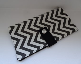 black and white leather checkbook cover