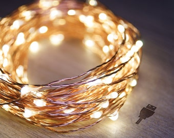 10m Copper String Fairy Lights (Warm White) | USB