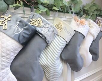 Gray Christmas Stockings.Grey Stocking Etsy