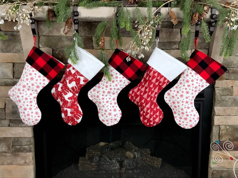 Christmas Stocking Personalized.Christmas Stocking Personalized Christmas Stockings Buffalo Plaid Stocking White Stocking Red And Black Buffalo Plaid Stocking Farmhous