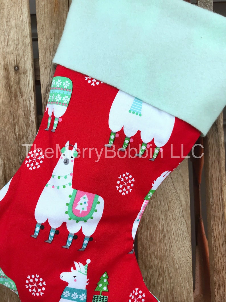 Christmas Stocking Personalized Christmas Stockings Llama Christmas Stocking Red Christmas Stocking Feliz Navidad Stocking Llama Llama
