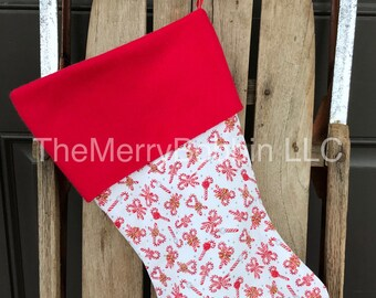 Candy Canes Christmas Stocking, Christmas Stocking, Kids Stocking, Personalized Stockings, Light Gray Stocking, Unique Stocking