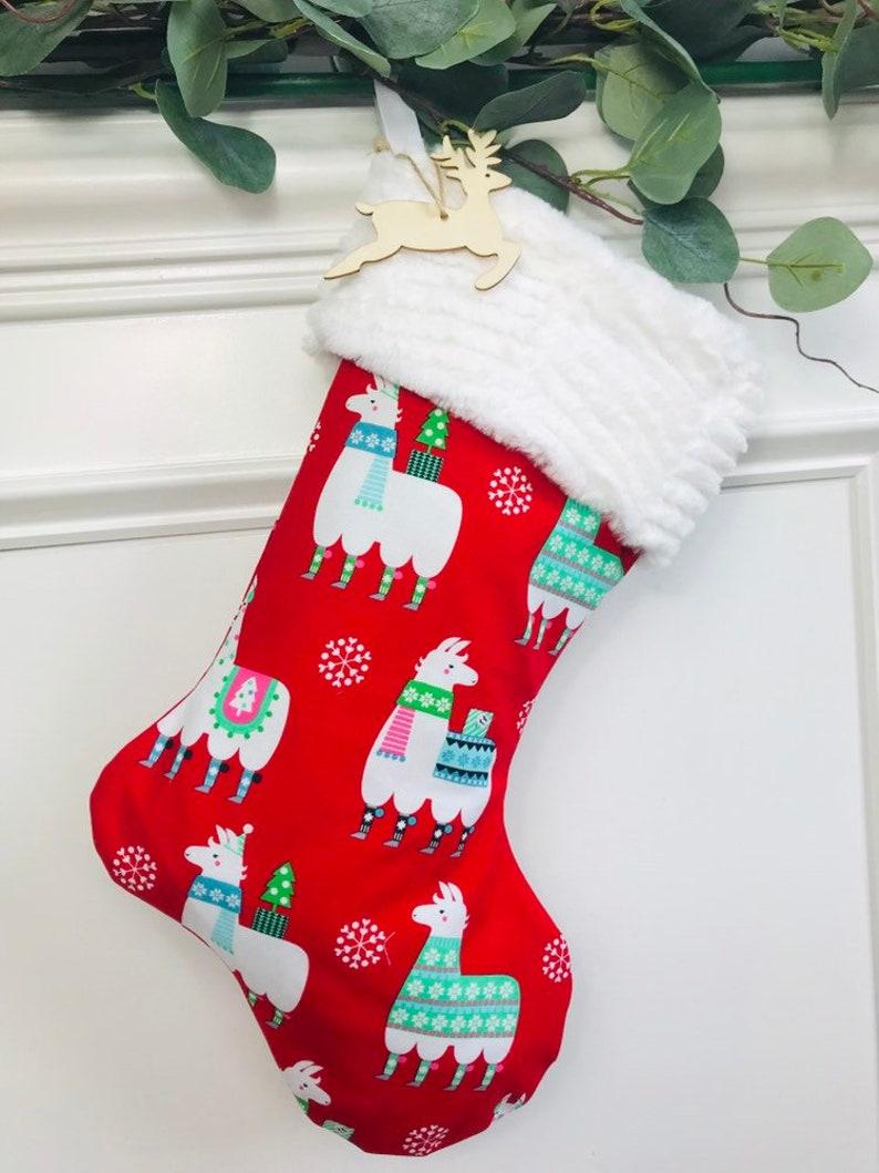 Llama Christmas Stocking.Personalized Christmas Stockings Llama Christmas Stockings Faux Fur Christmas Stockings Feliz Navidad Christmas Stockings Llama Llama