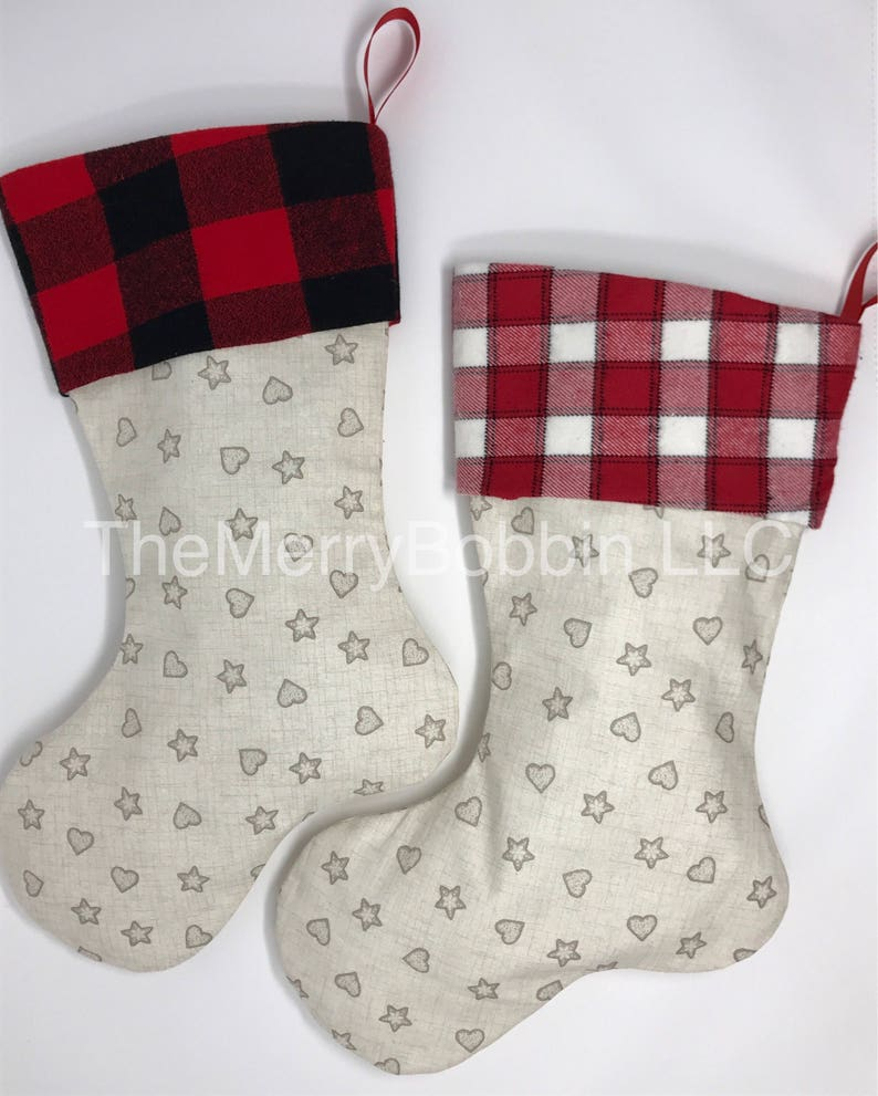 Set of 4 Christmas Stocking Set Personalized Christmas Stockings Cream Stockings Reindeer Stock Christmas Stocking Farmhouse Stockings