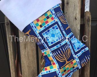 Hanukkah Stocking, Chanukah Stocking, Menorah and Star of David Stocking, Holiday Stocking
