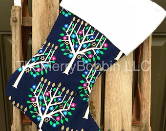 Hanukkah Stocking,Hanukkah Gifts, Chanukah Stocking, Menorah and Star of David Stocking, Holiday Stocking