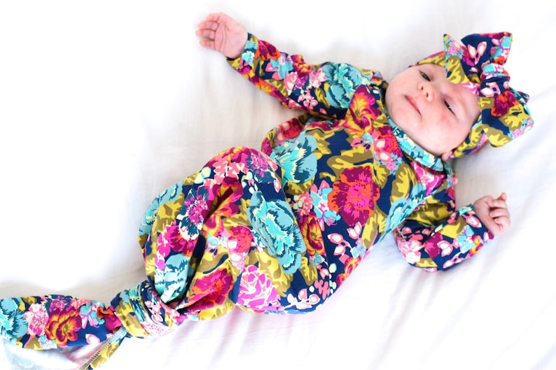 7ba9d120e Bright Floral Newborn Girl Coming Home Outfit Baby Take-Home