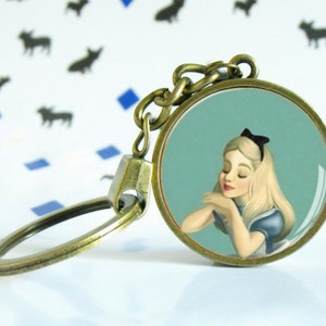 Blue butterfly Etsy geek gift Alice in Wonderland Absolem Disney jewel Necklace round pendant Glass cabochon dome