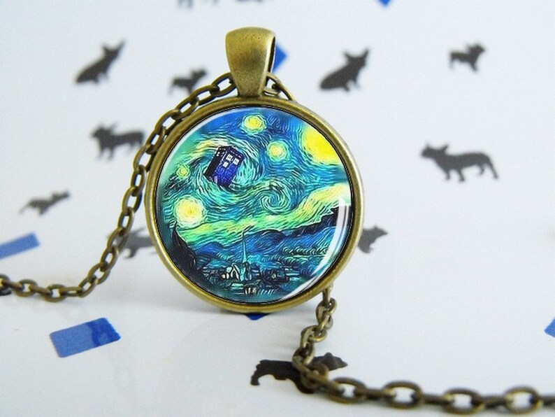 Special Gift Necklace Tardis et Van Gogh Dr.Who Special Jewel