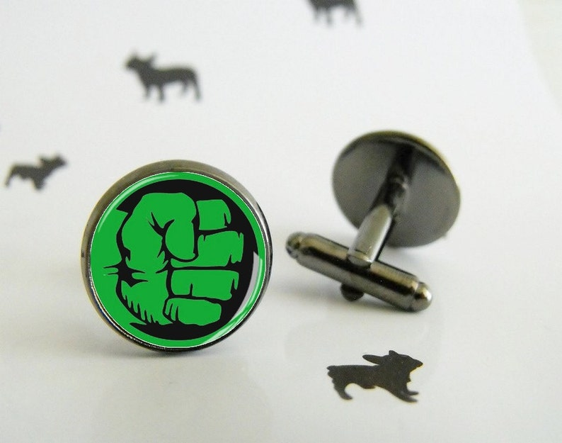Hulk Cufflinks With Glass Cabochon Special Wedding Gift Etsy