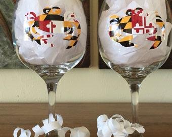 maryland crab motif wine glasses