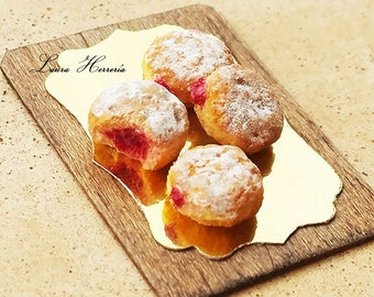 1:12 Scale Dollhouse Jelly Donuts - Miniature Food