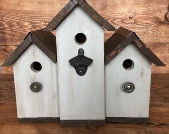 Outdoor farmhouse triplex birdhouse