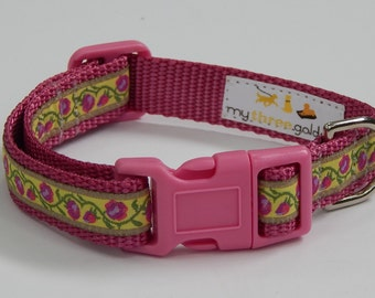 Pink Rosebud Dog Collar, Rosebud Dog Collar, Pink Dog Collar, Adjustable Dog Collar, Girl Dog Collar