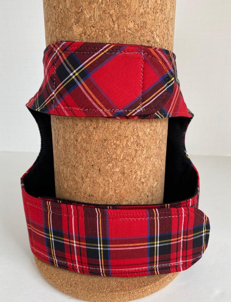 Red tartan plaid dog harness