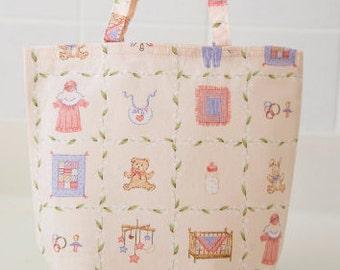 Handmade, Fabric Baby Gift Bag, Tote, Small Diaper Bag, Reusable
