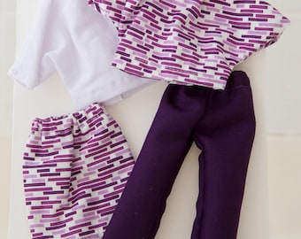 FREE SHIPPING - 11 1/2 inch Fashion Doll Clothes,  Mix-and-Match Set of 4, Tops, Skirts, and Pants