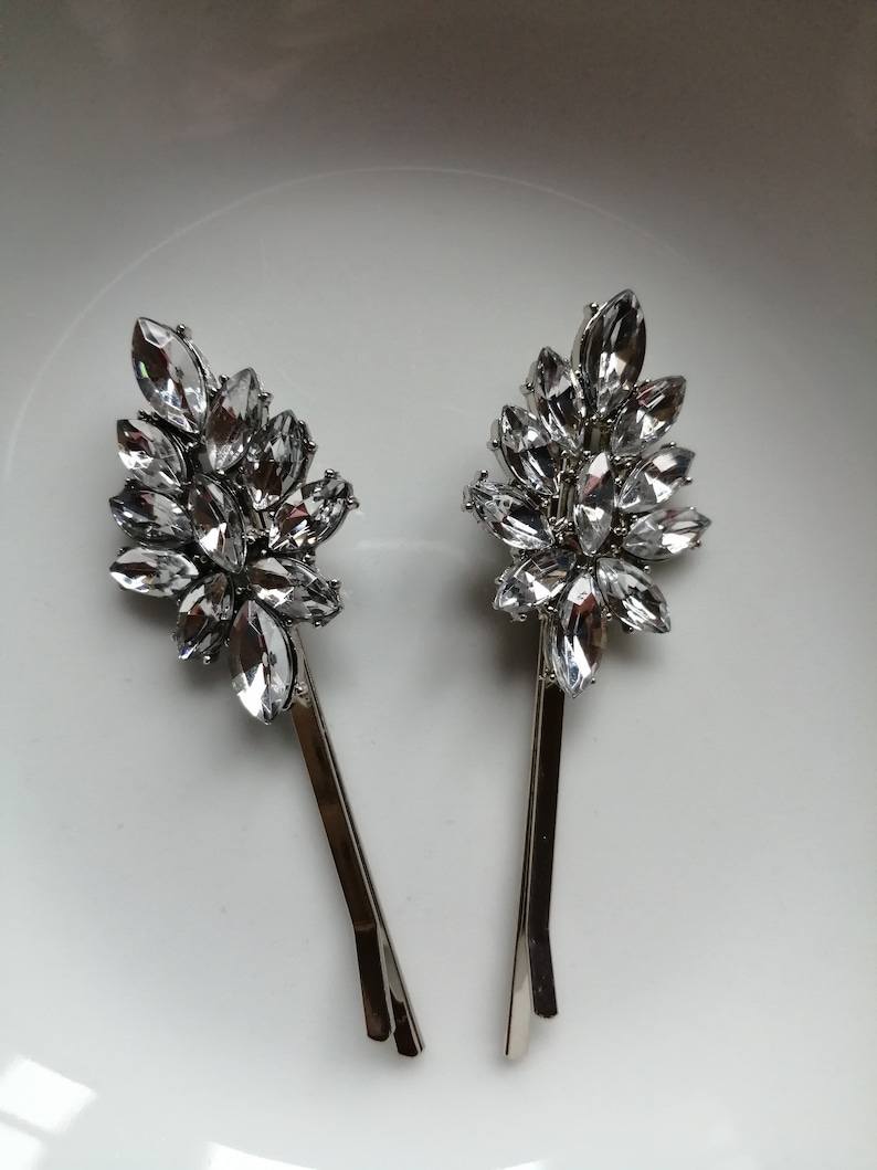 Diamonte Barrette Navy Stone Clip Hair Clip Wedding Hair Clip Pair of Diamonte  Hair Clips Bridal Hair Accessories Diamonte Clip
