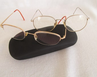 4362d1a65f Vintage prescription glasses with Flexon frames plus one other pair  similar. Rimless. Square bottom. Marchon
