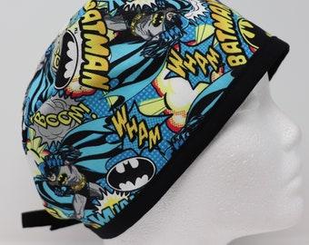 Unisex Wonder Woman Batman Surgical Scrub cap with buttons Tie Back Surgical Cap