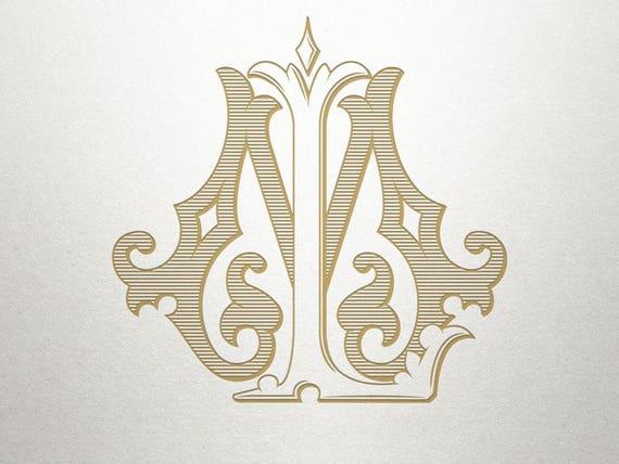 Interlocking Wedding Monogram Lm Ml Wedding Monogram Etsy