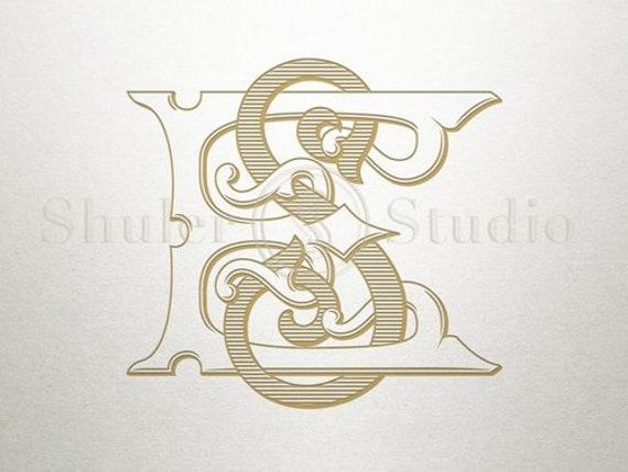 Vintage Interlocking Monogram Es Se Interlocking Monogram Etsy