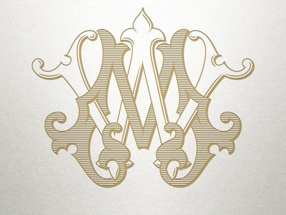 Custom Wedding Monogram MW WM Wedding Monogram Vintage Etsy